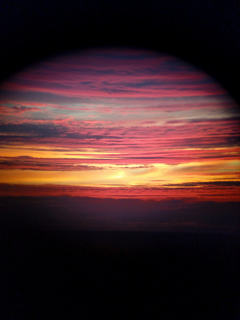 sunset through a rounded lens